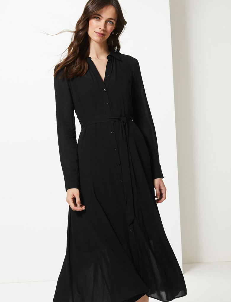 Uzun Kollu Midi Elbise