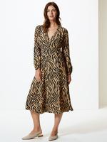 Bej Desenli Uzun Kollu Midi Elbise