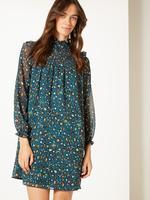 Kadın Yeşil Desenli Uzun Kollu Mini Elbise