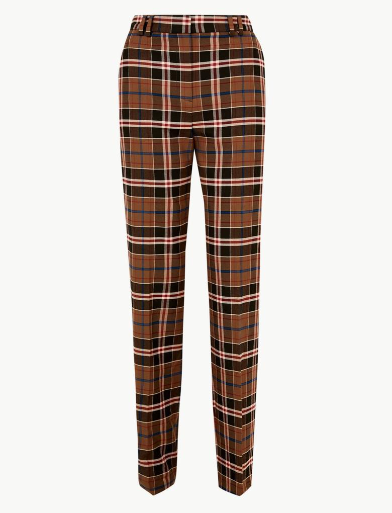 Kadın Lacivert Ekose Straight Leg Pantolon