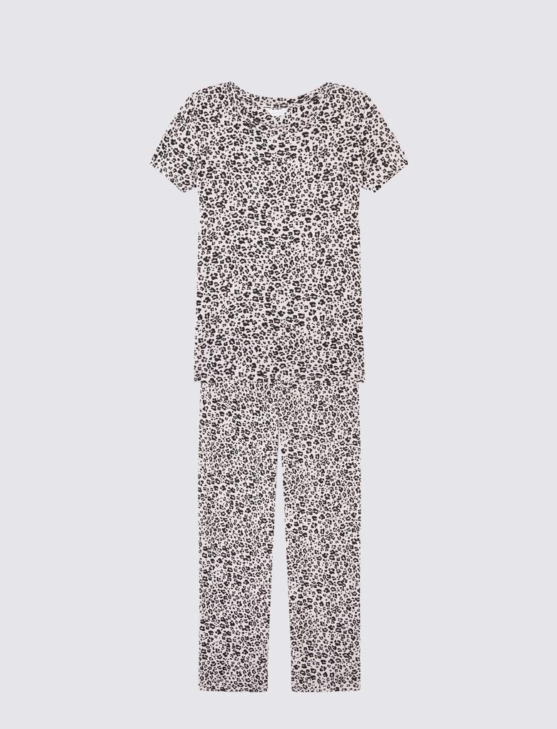 Leopar Desenli Kısa Kollu Pijama Takımı