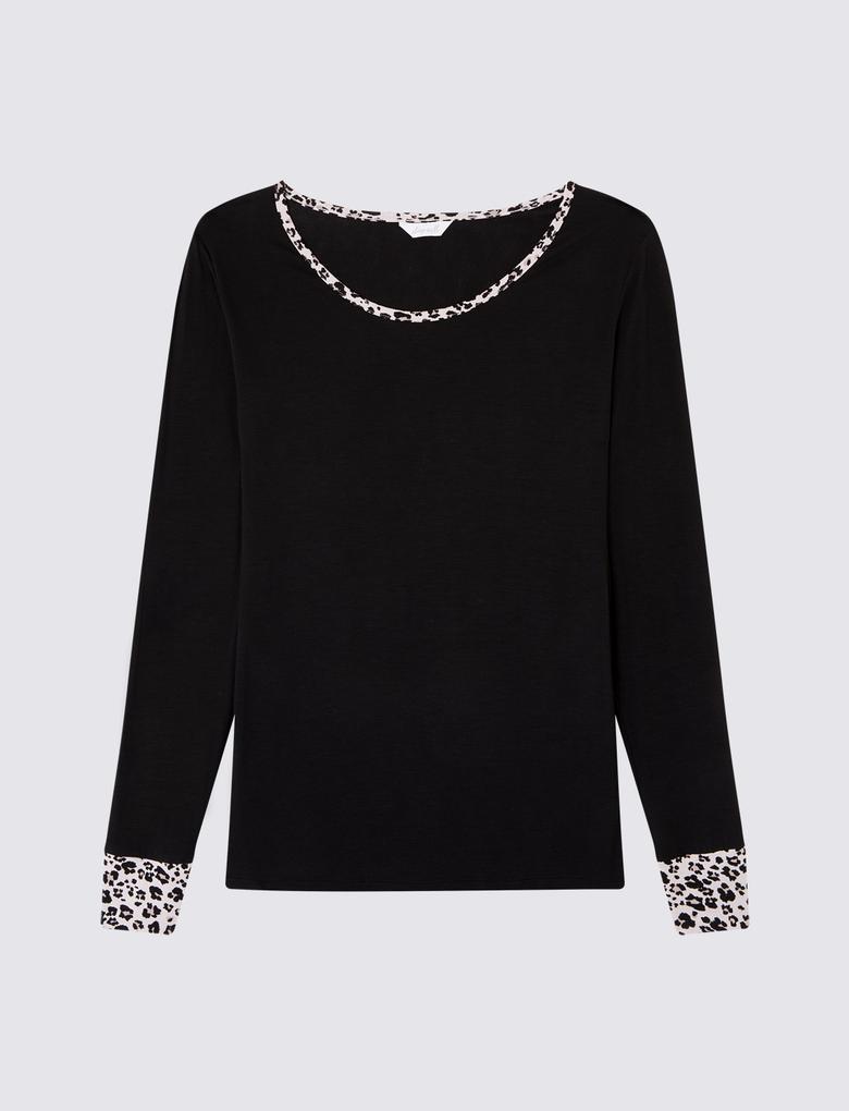 Siyah Leopar Desenli Pijama Takımı