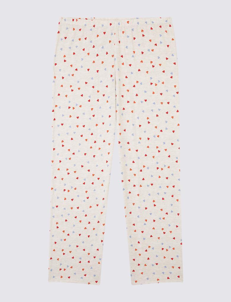 Kalp Desenli Uzun Kollu Pijama Takımı