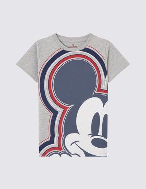Mickey Mouse Desenli Kısa Kollu T-Shirt