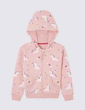 Unicorn Desenli Kapüşonlu Sweatshirt