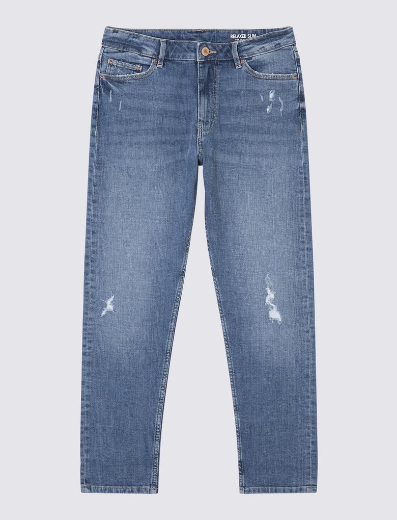 Yırtık Detaylı Relaxed Slim Jean Pantolon