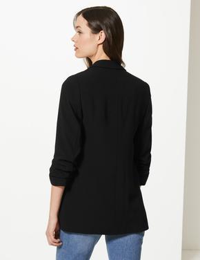 Kadın Siyah Kolları Büzgülü Blazer Ceket