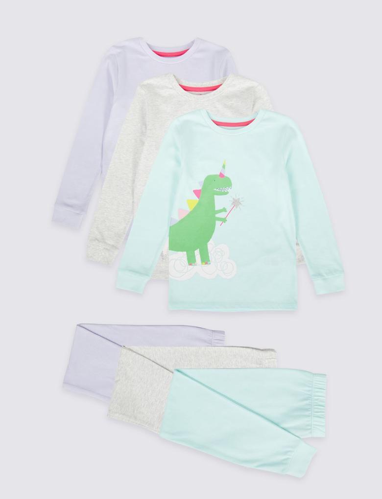 3'lü Saf Pamuklu Pijama Takımı Seti