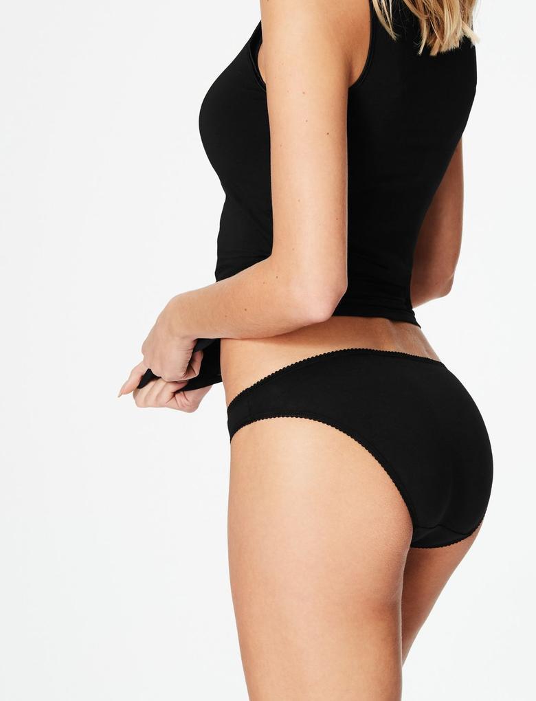 Kadın Siyah 5'li Pamuklu Bikini Külot (Yeni ve Geliştirilmiş Kumaş)
