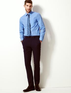Mavi Erkek 3'lü Kolay Ütülenebilir Slim Gömlek