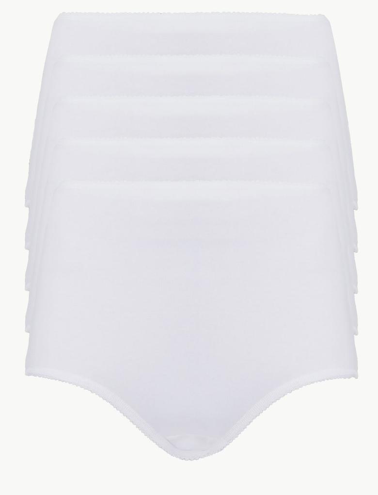 Kadın Beyaz 5'li Pamuklu Bikini Külot (Yeni ve Geliştirilmiş Kumaş)