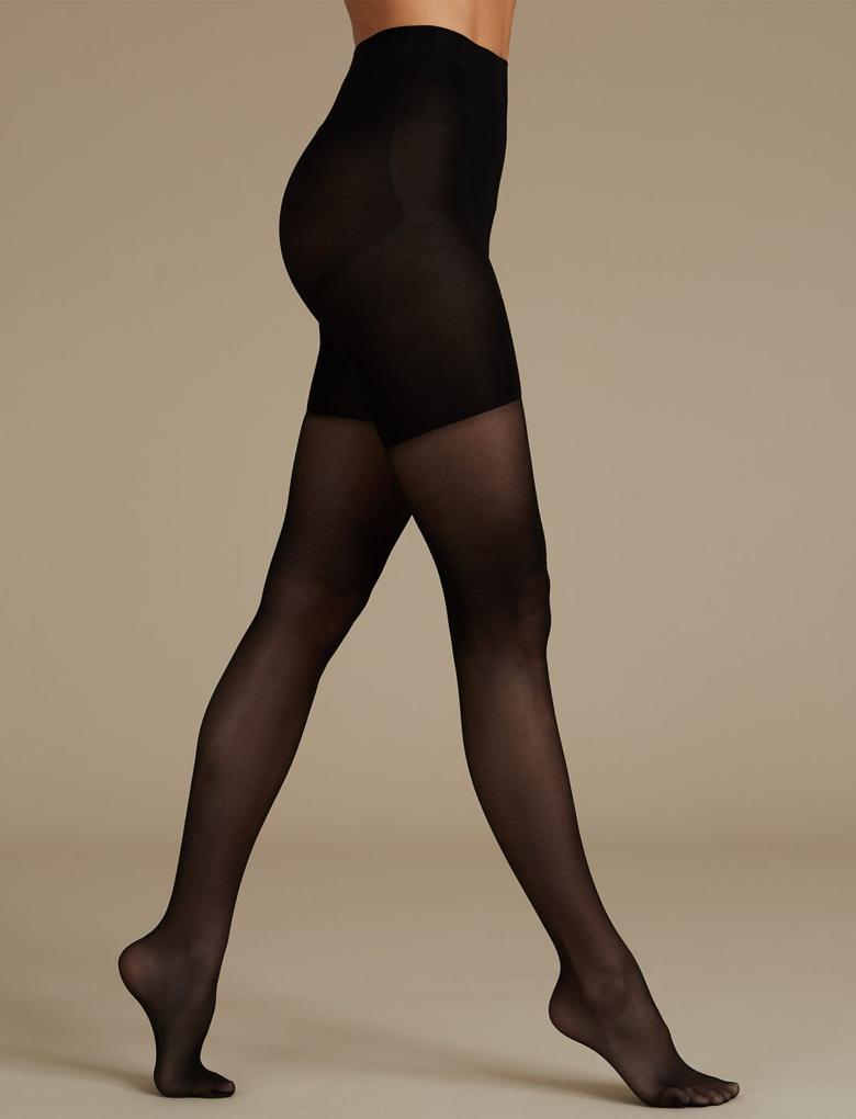 Kadın Siyah 15 Denye Toparlayıcı Özellikli Külotlu Çorap