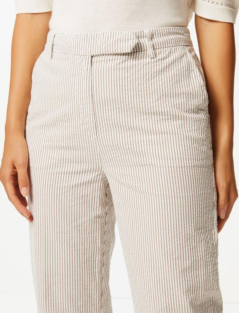 Multi Renk Saf Pamuklu Çizgili Pantolon