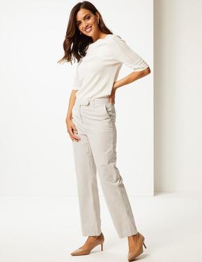 Saf Pamuklu Çizgili Pantolon