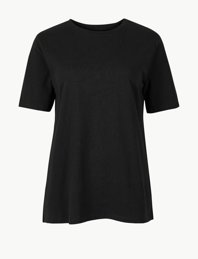 Kadın Siyah Saf Pamuklu Kısa Kollu T-Shirt
