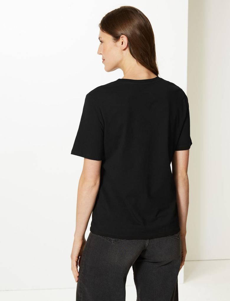 Saf Pamuklu Straight Fit T-Shirt