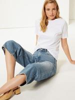 Kadın Beyaz Saf Pamuklu Kısa Kollu T-Shirt