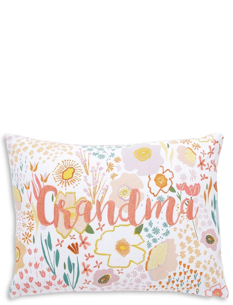 """Çiçek Desenli """"Grandma"""" Yastık"""
