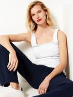 Kadın Beyaz Saf Pamuklu Kolsuz Bluz