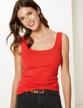 Kırmızı Saf Pamuklu Kolsuz Bluz