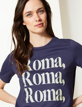 Saf Pamuklu Roma Desenli T-shirt