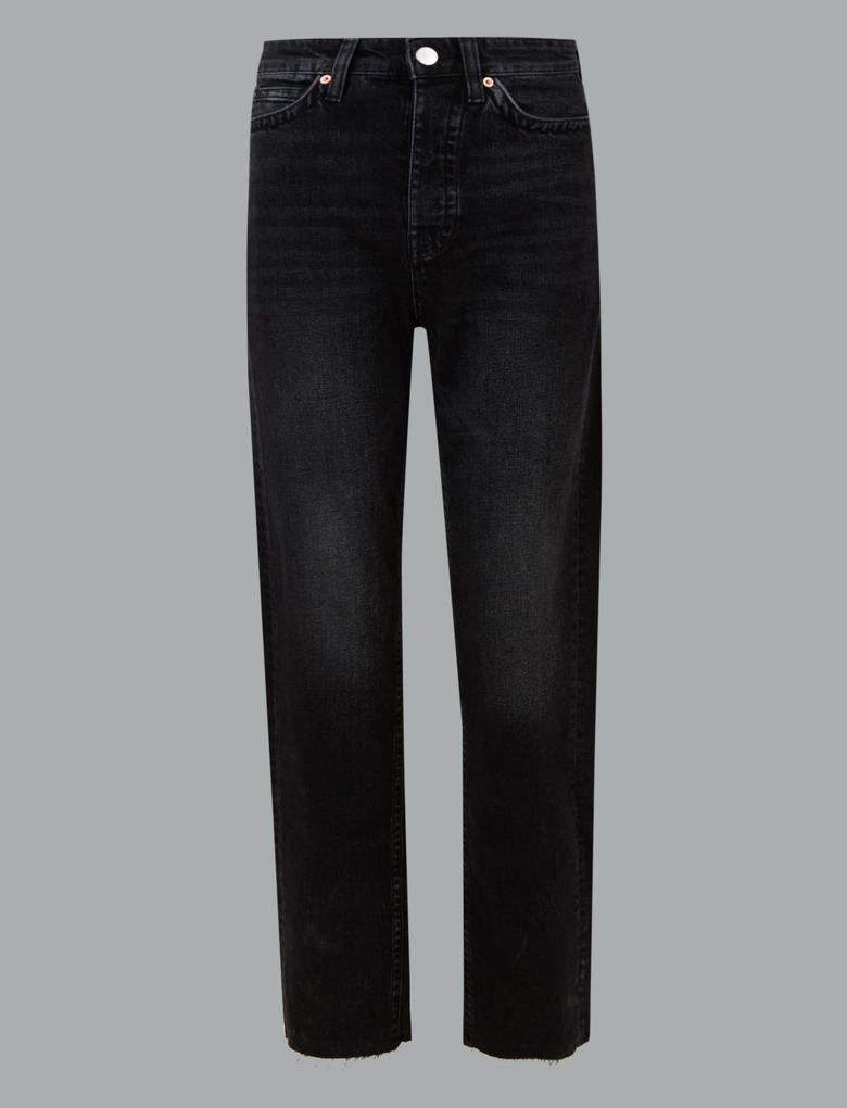 Siyah Orta Belli Straight Jean Pantolon