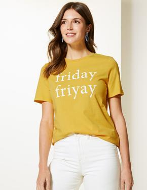 Saf Pamuklu Friday Desenli Straight Fit T-Shirt