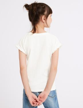 Arı İşlemeli Kısa Kollu T-Shirt