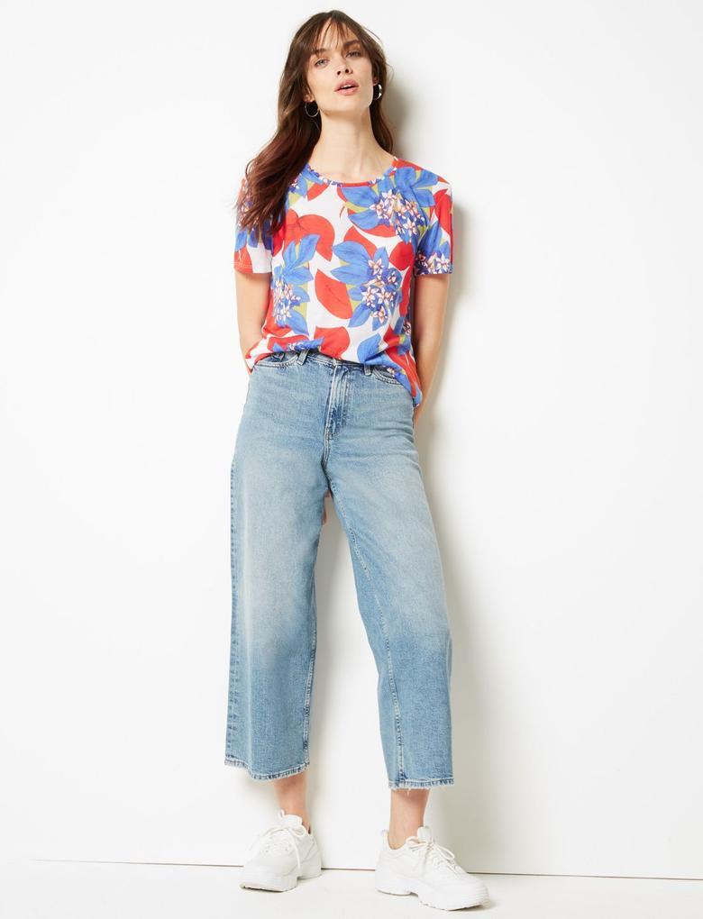 Çiçek Desenli Relaxed Fit T-Shirt