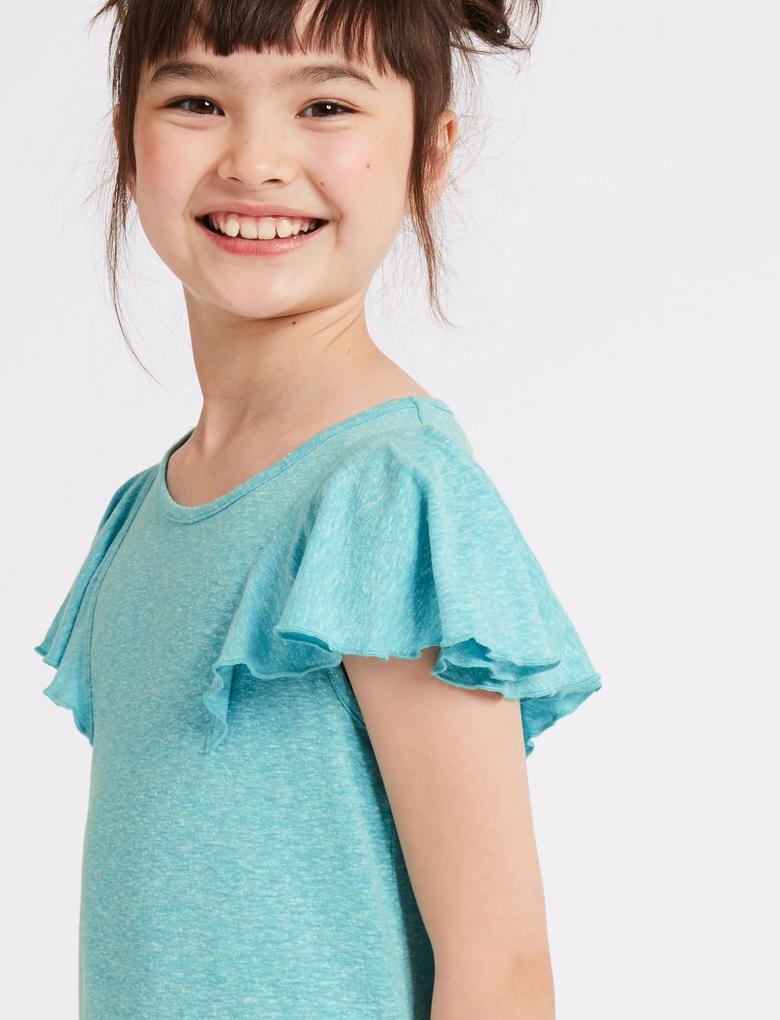 Kız Çocuk Yeşil Kolları Fırfırlı Pamuklu Elbise