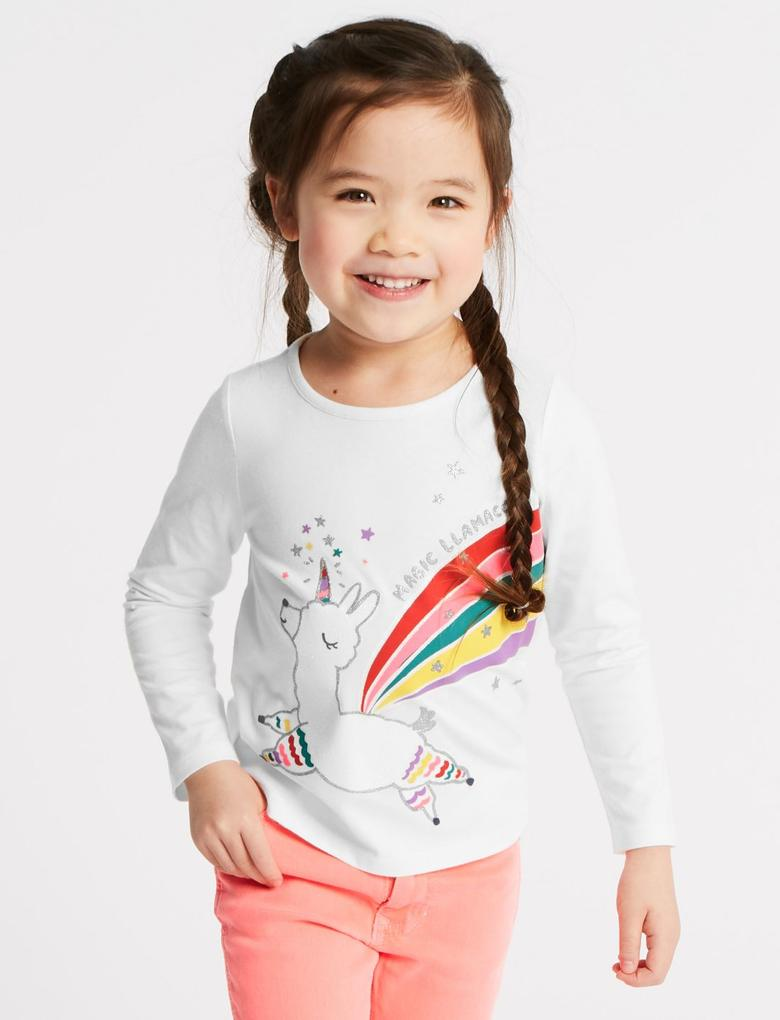 Kız Çocuk Beyaz Saf Pamuklu Üst