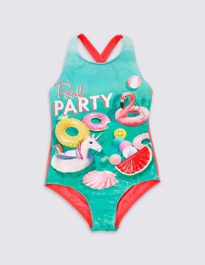 UPF50+ Korumalı Pool Party Desenli Mayo