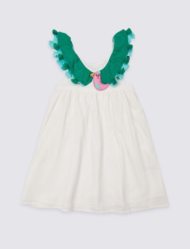 Saf Pamuklu Kuş Desenli Elbise