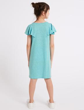 Kolları Fırfırlı Pamuklu Elbise