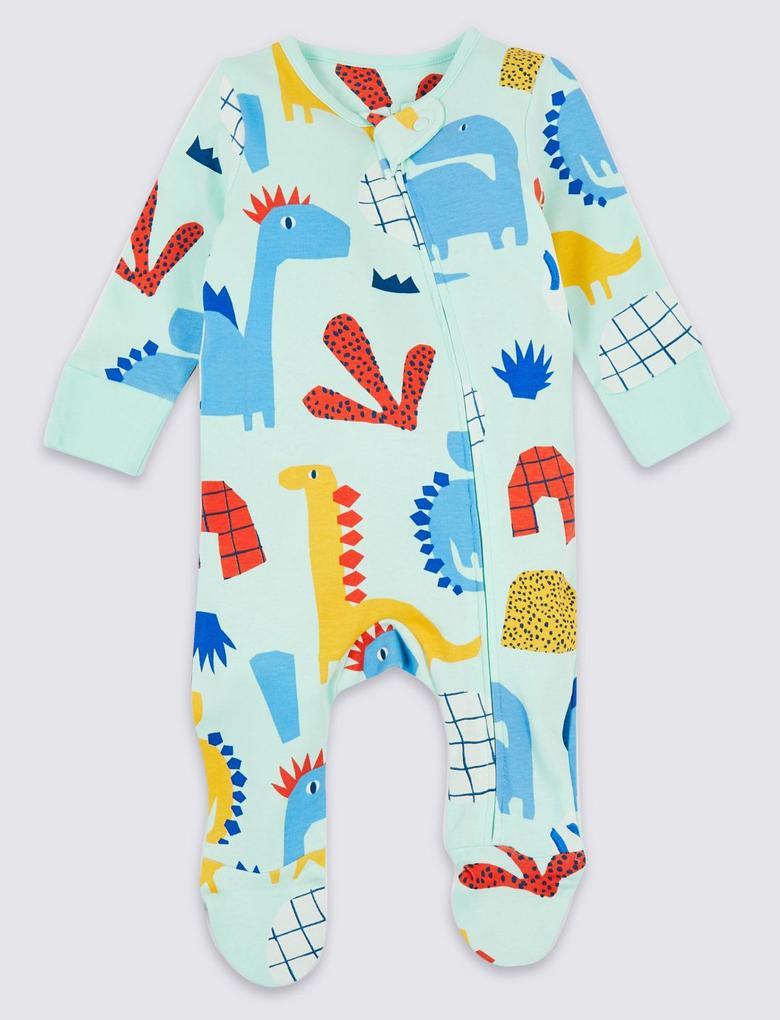 2'li Organik Pamuklu Dinozor Desenli Fermuarlı Pijama Seti