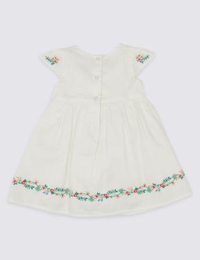 Çiçek Desenli Saf Pamuklu Elbise