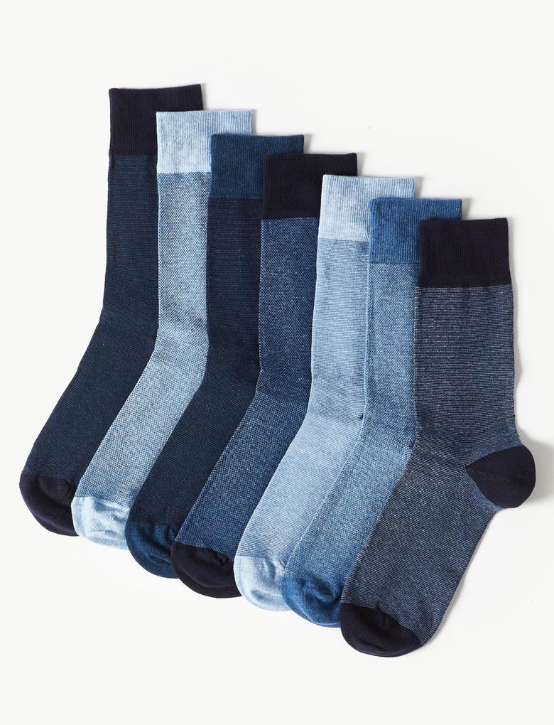 Erkek Mavi 7'li Pamuklu Cool & Freshfeet Çorap Seti