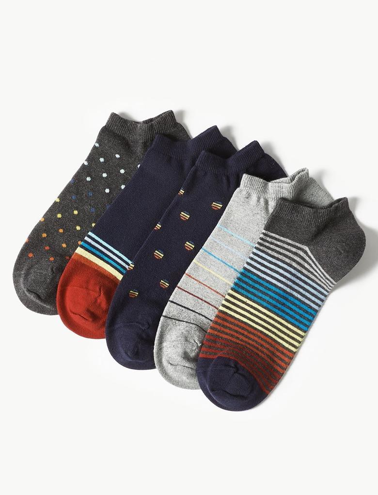 Multi Renk 5'li Pamuklu Çorap Seti