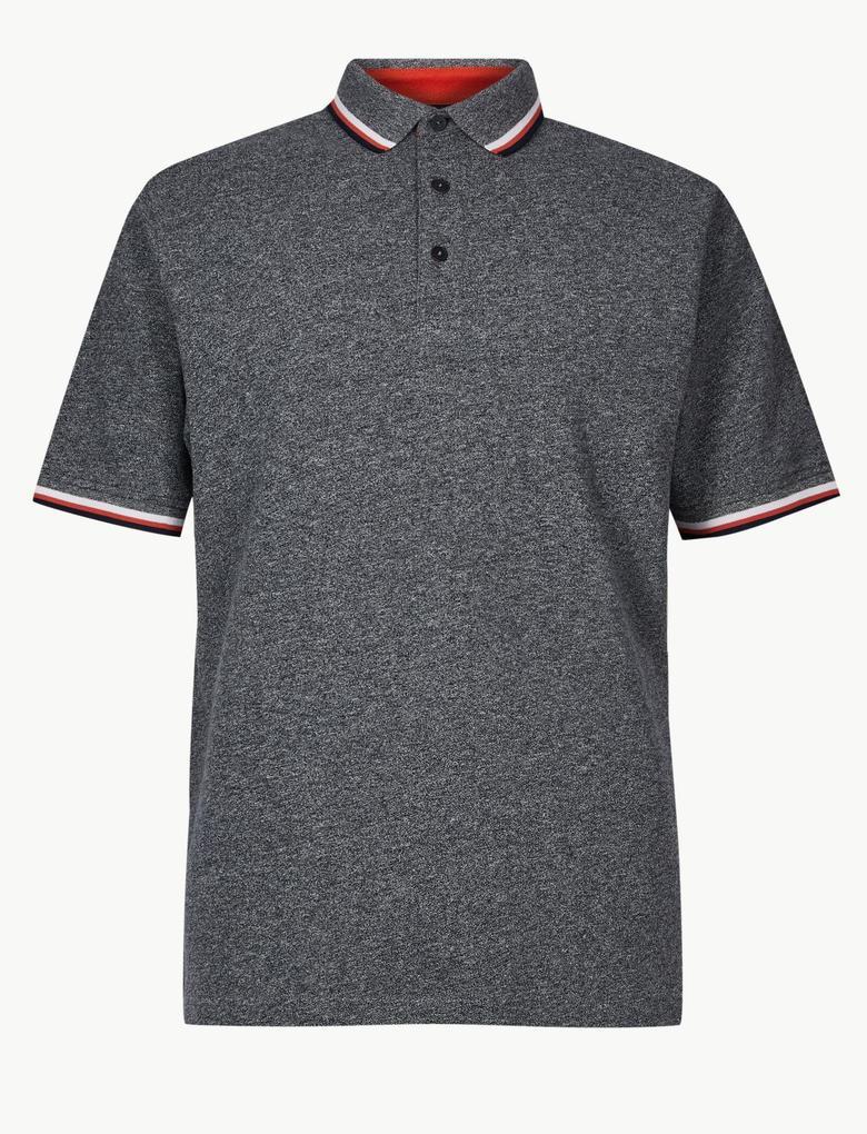Saf Pamuk Polo Yaka T-Shirt
