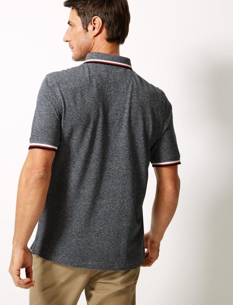 Gri Saf Pamuk Polo Yaka T-Shirt
