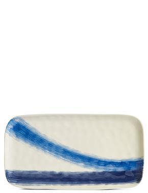 El Boyaması Fırça Darbeleri Desenli Dikdörtgen Servis Tabağı