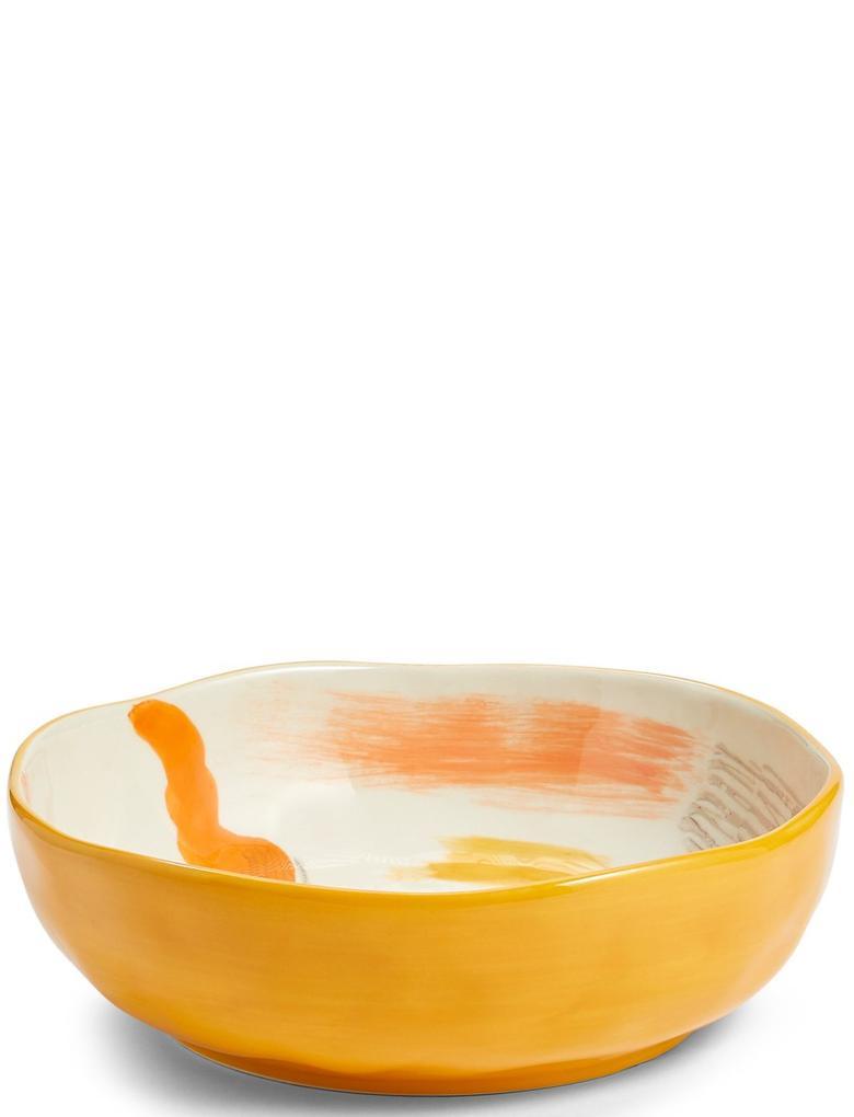 El Boyaması Soyut Desenli Salata Kasesi