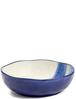 El Boyaması Fırça Darbeleri Desenli Salata Kasesi