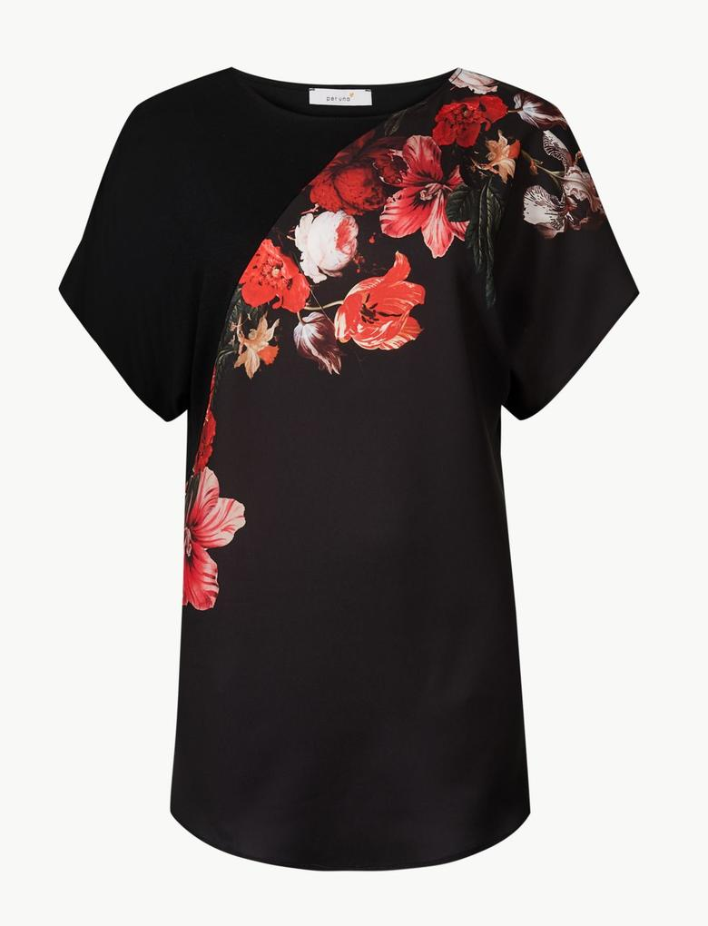 Çiçek Desenli Yuvarlak Yaka Kısa Kollu Bluz