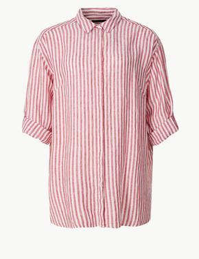 CURVE Saf Keten Çizgili Uzun Kollu Gömlek