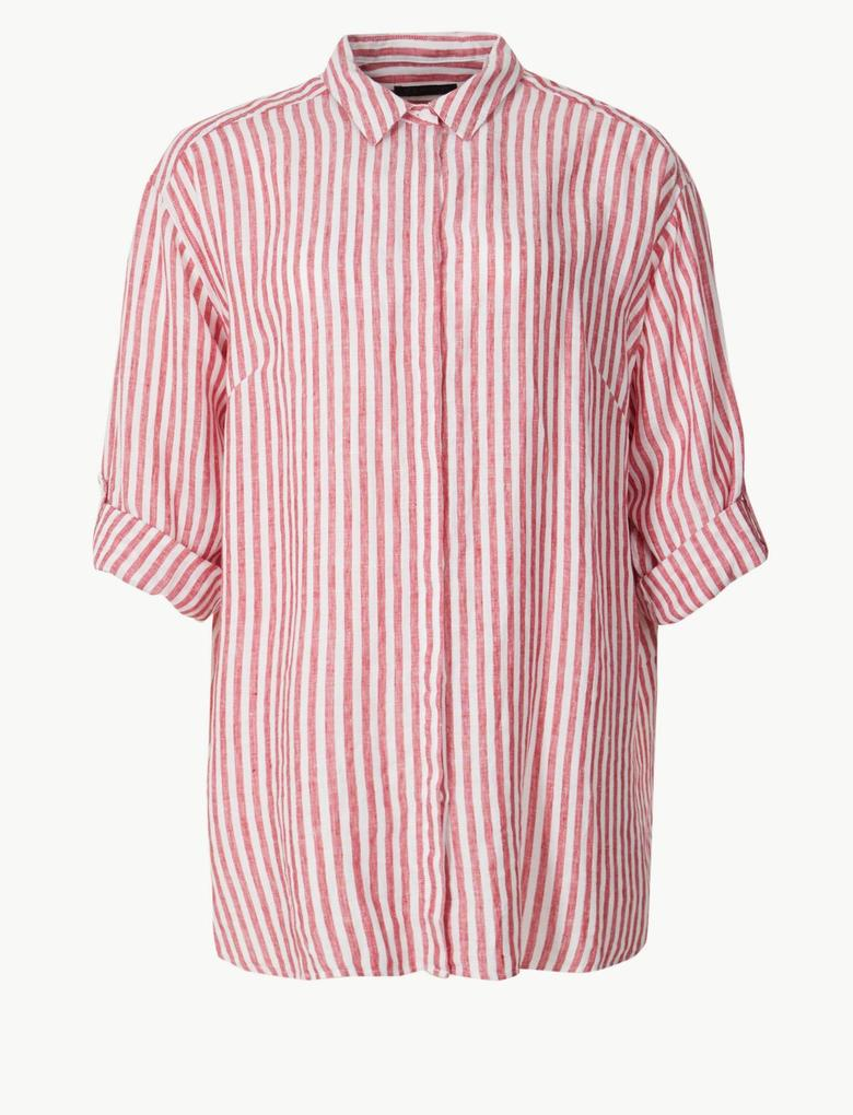 Kırmızı CURVE Saf Keten Çizgili Uzun Kollu Gömlek