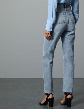 Yüksek Belli Straight Leg Bilek Hizasında Jean Pantolon