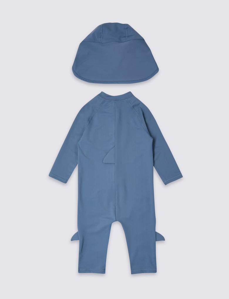 UPF50 Korumalı Mayo Tulum ve Şapka Seti (3 Months - 7 Years)