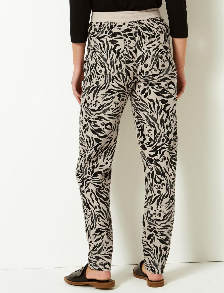 Keten Karışımlı Desenli Peg Pantolon