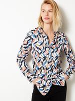 Kadın Krem Desenli Saten Uzun Kollu Gömlek